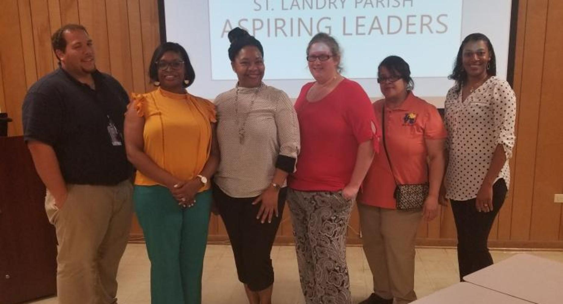 Lawtell staff members participate in the district's Aspiring Leaders Academy 2019-2020: J. Guillory, O. Warren, T. Thomas,  A. Vidrine, R. Richard, and F. Dupre