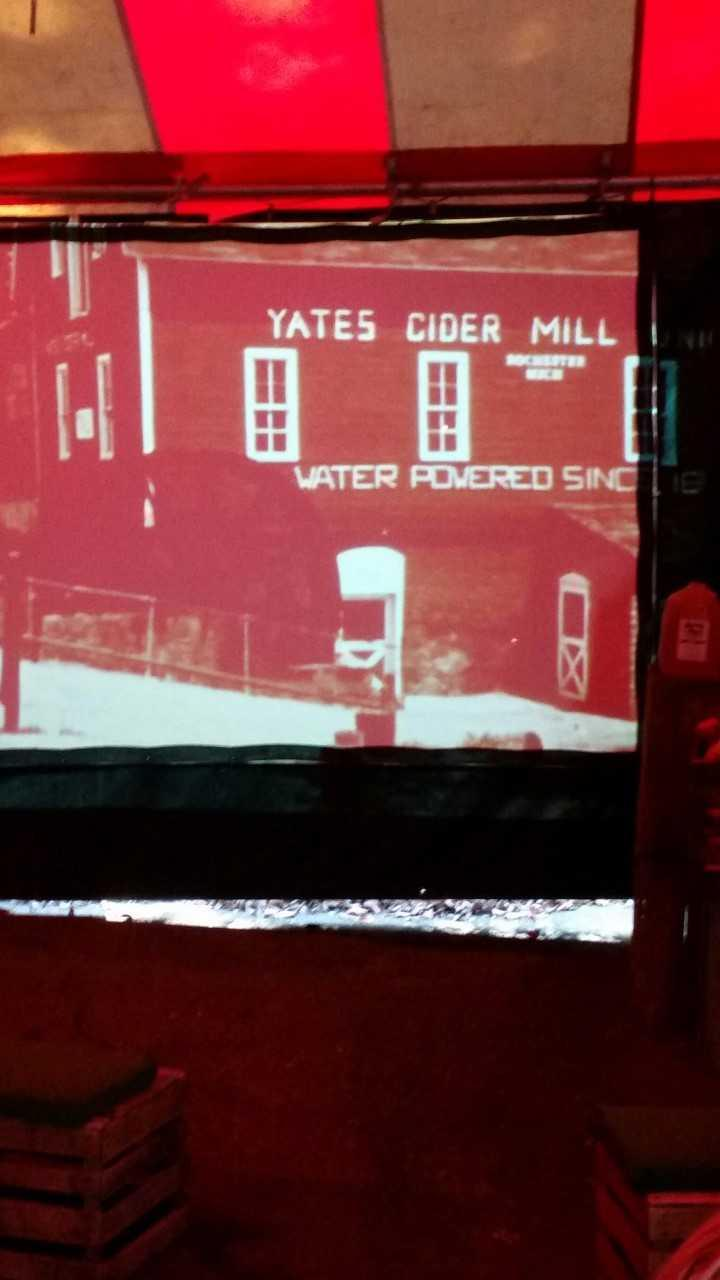 Old picture of original Yates Cider Mill found in the presentation.