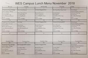 November Lunch Menu 2018