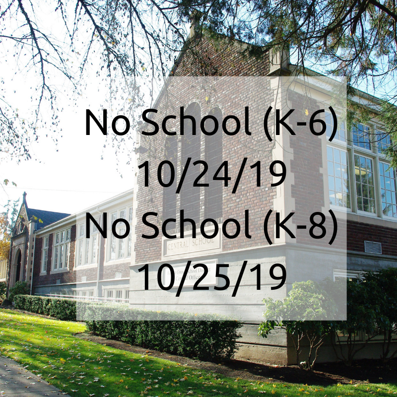 photo of central admin building. no school k-6 (10/24/19) and K-8 (10/25/19)
