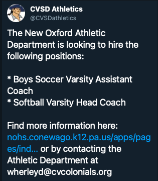Need assistant coach for boys soccer and head coach for softball