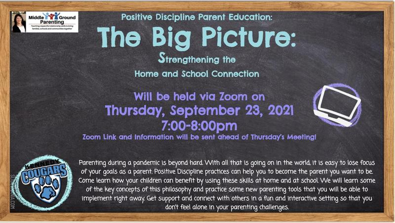 Positive Discipline Parent Education Classes to be held on Thursday, September 23, 2021. Classes will be held on Zoom. Zoom link will sent out ahead of Thursday's meeting.