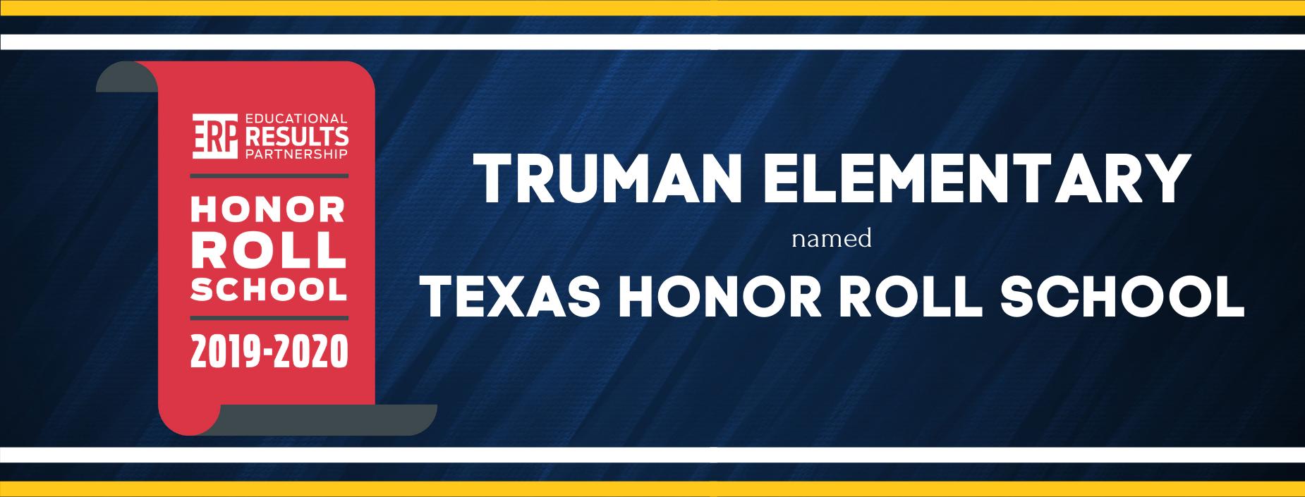 Truman Elementary named Texas Honor Roll School
