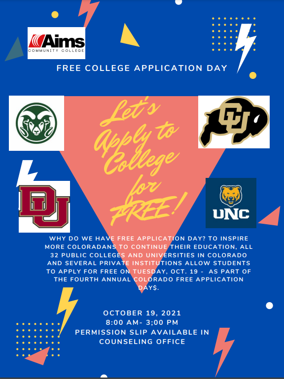 FLHS Free College Application Day Flier