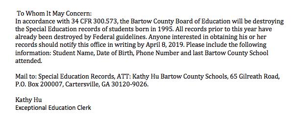Special education record notice