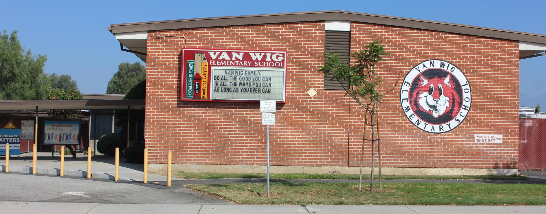 Shot of the front of Van Wig Elementary School