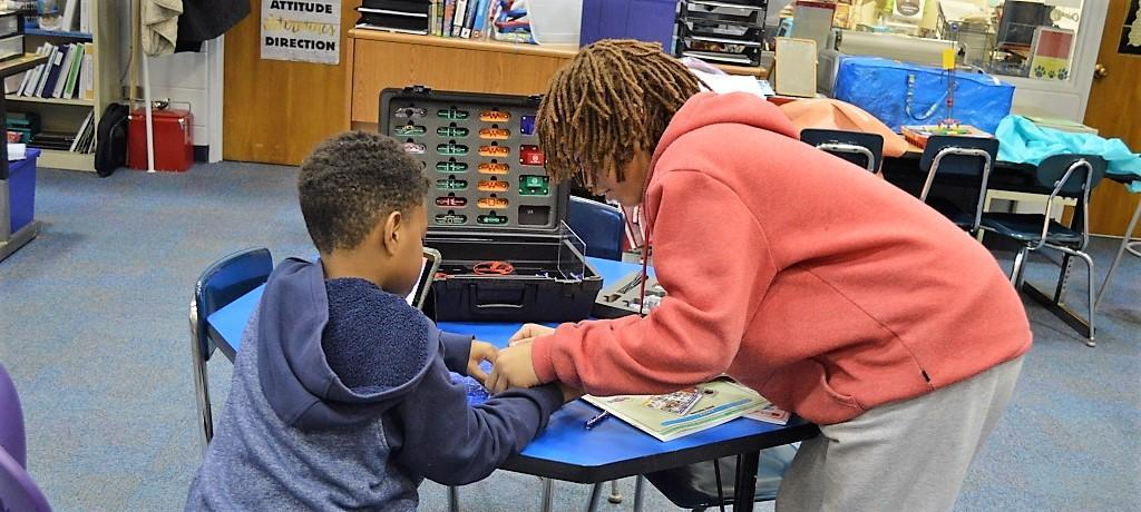 two students work in the STEM Lab