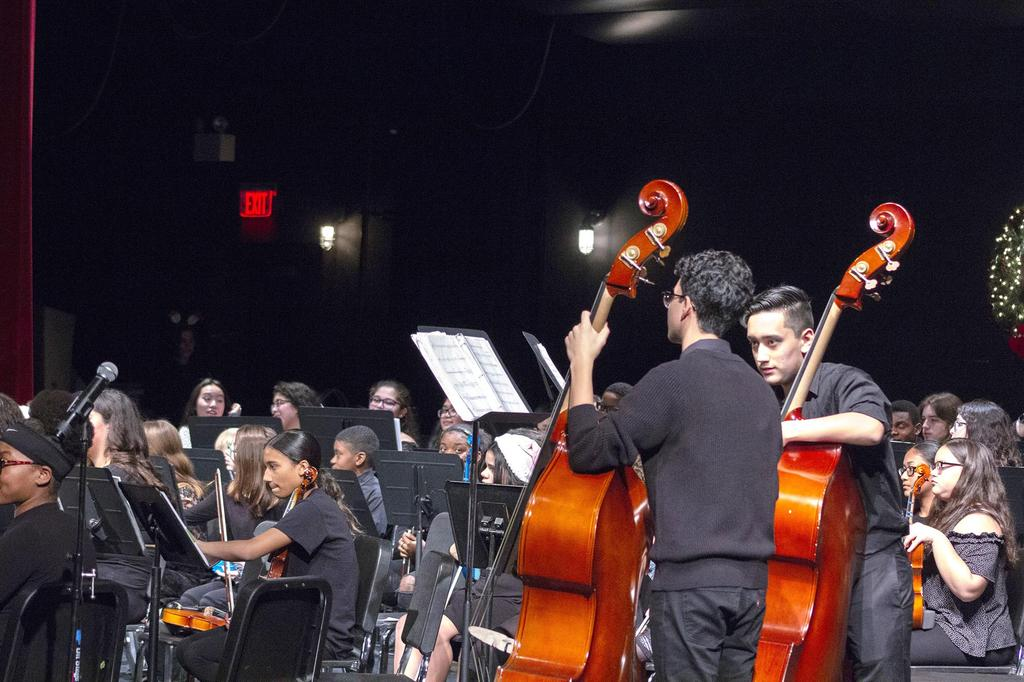 A side view of the orchestra with two cello players featured prominently on the right