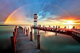 Dock with rainbow