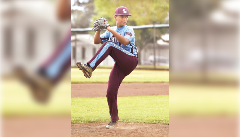 Central East Maui's Kamole Gilliland pitched a one-hitter on Tuesday to pick up the win. The Maui News / MATTHEW THAYER photos