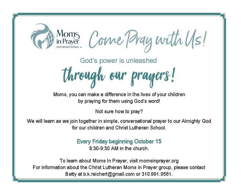 Moms In Prayer-  Every Friday beginning October 15 Featured Photo