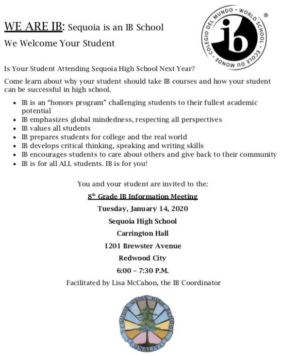 Sequoia High School IB Info Meeting Featured Photo