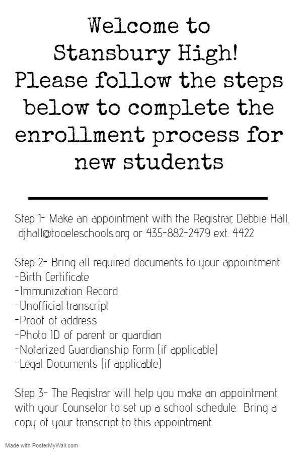 New Student Enrollment info
