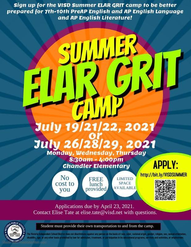 Summer ELAR GRIT CAMP-New Dates! Thumbnail Image