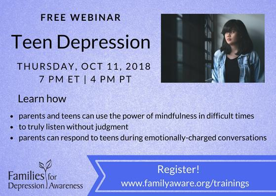 Free Webinar about Teen Depression