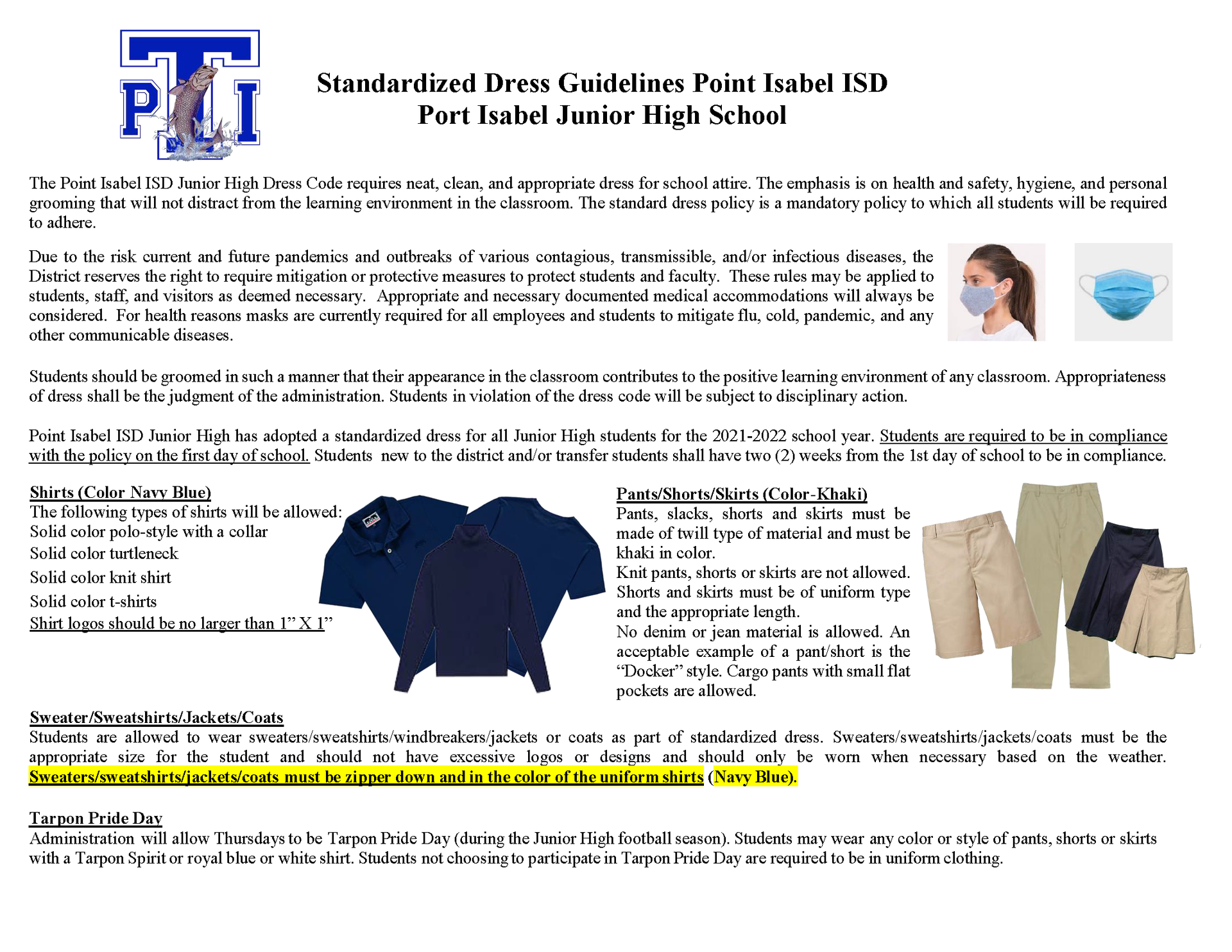 PIJH Student Dress Code