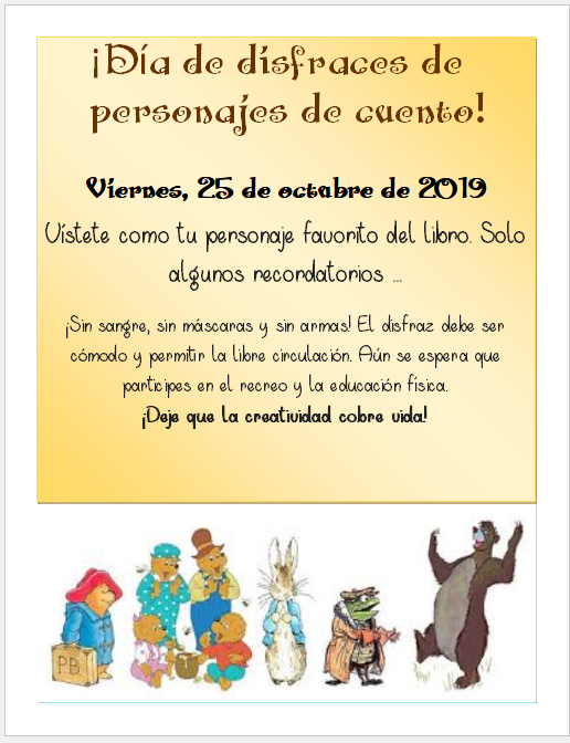 flier with book characters