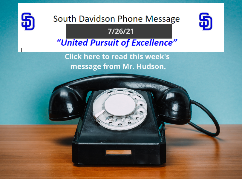 Mr. Hudson's Weekly Message