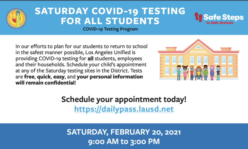 SATURDAY COVID-19 TESTING FOR ALL STUDENTS Featured Photo