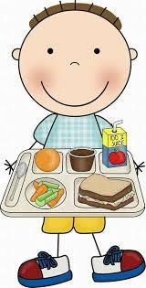 Image of a boy eating school lunch