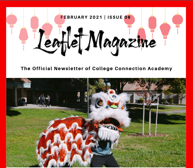 A picture that says February Leaflet Magazine and has a human-made dragon couple costume for the Tet New Year celebration.