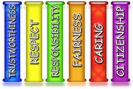 6 pillars of Character: Trustworthiness, Respect,  responsibility, fairness, caring and citizenship.