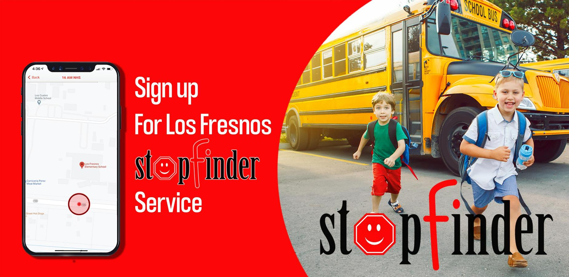 Stop Finder app sign up banner