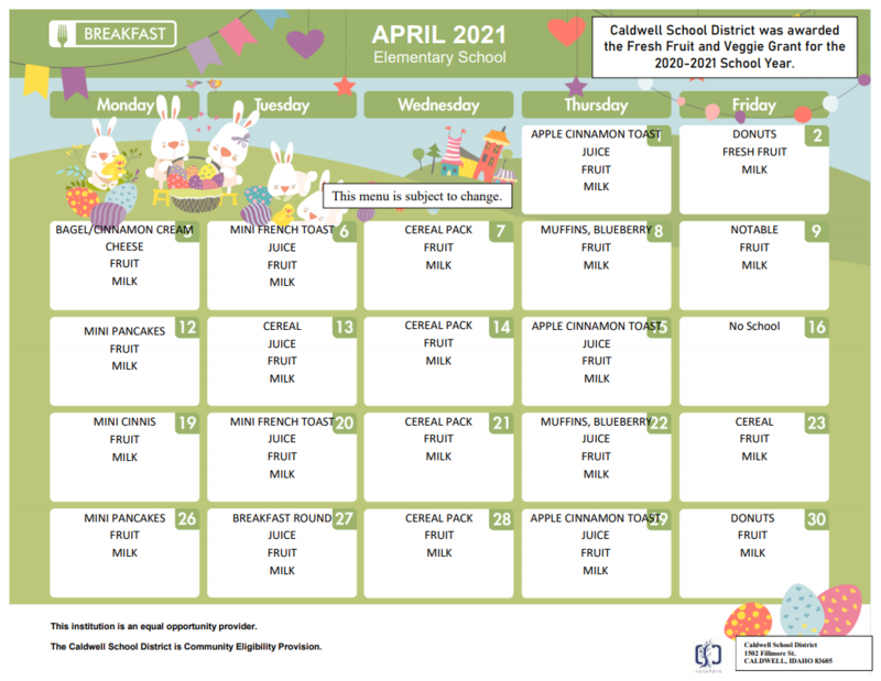 April Breakfast and Lunch Menus Thumbnail Image