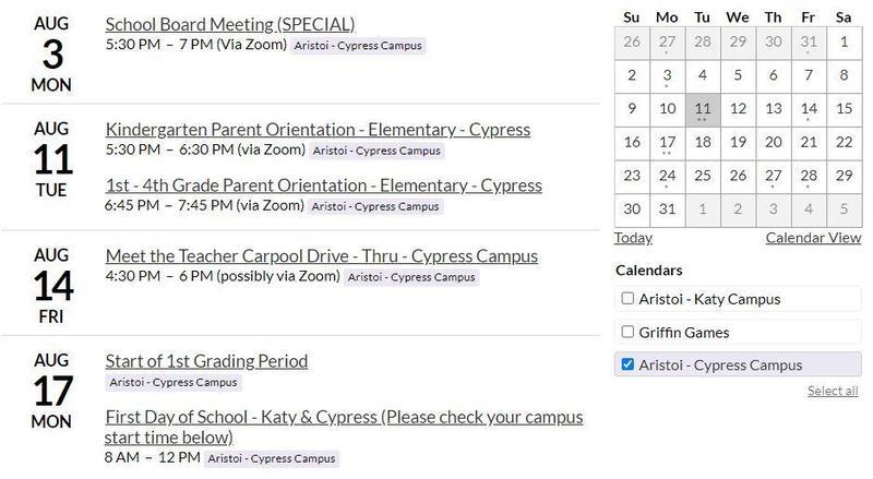 Aristoi Elementary - Cypress Parent Orientation Information Featured Photo