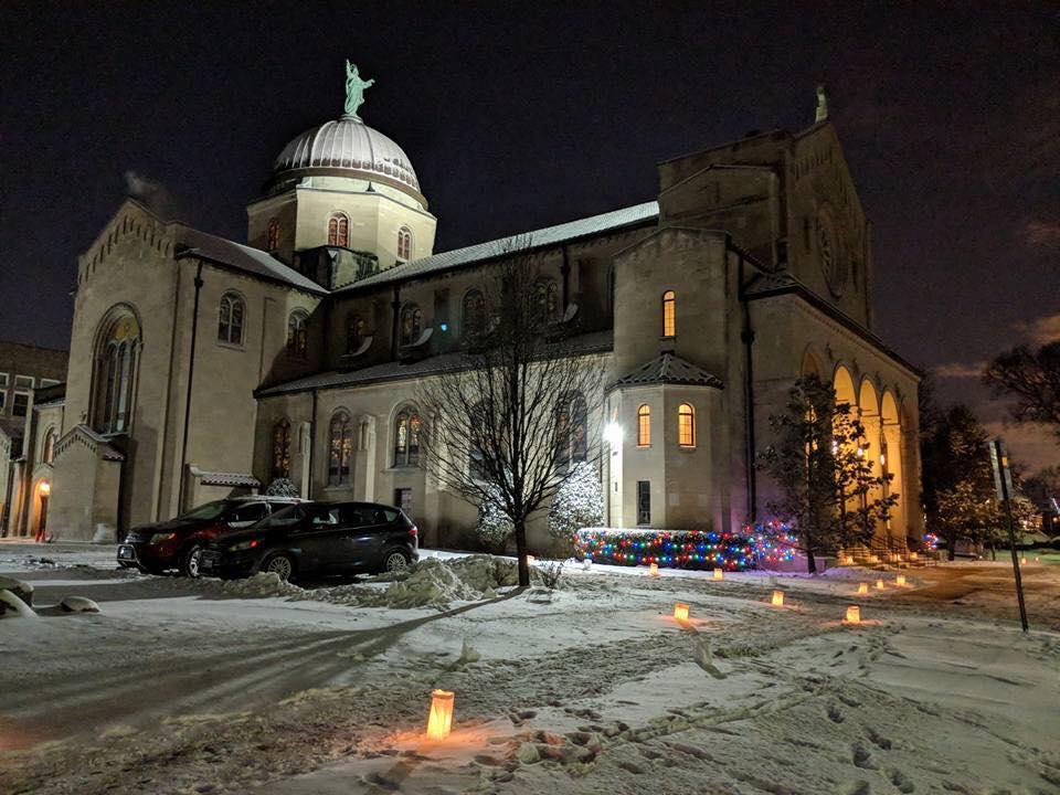Church exterior at Christmas