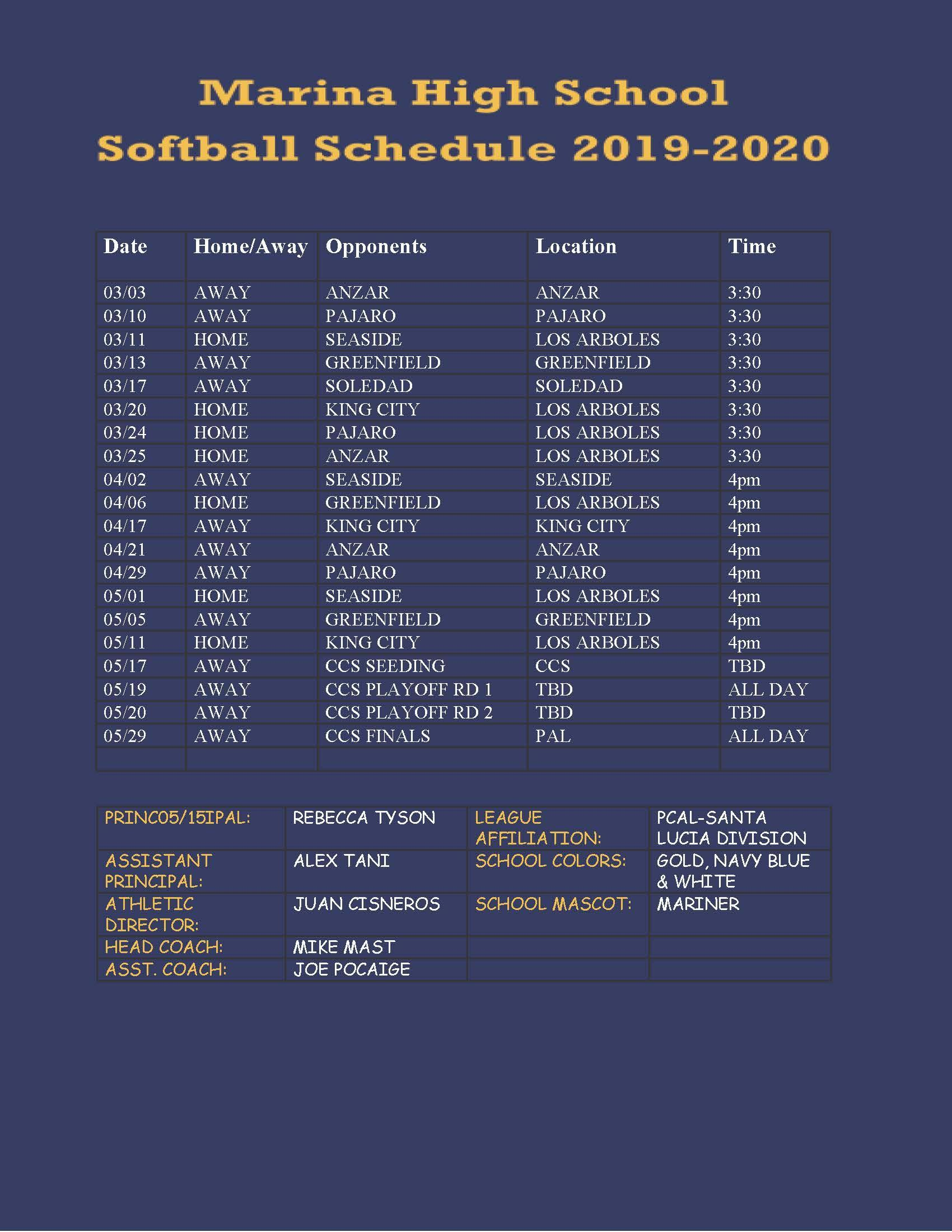 Softball Schedule 19-20