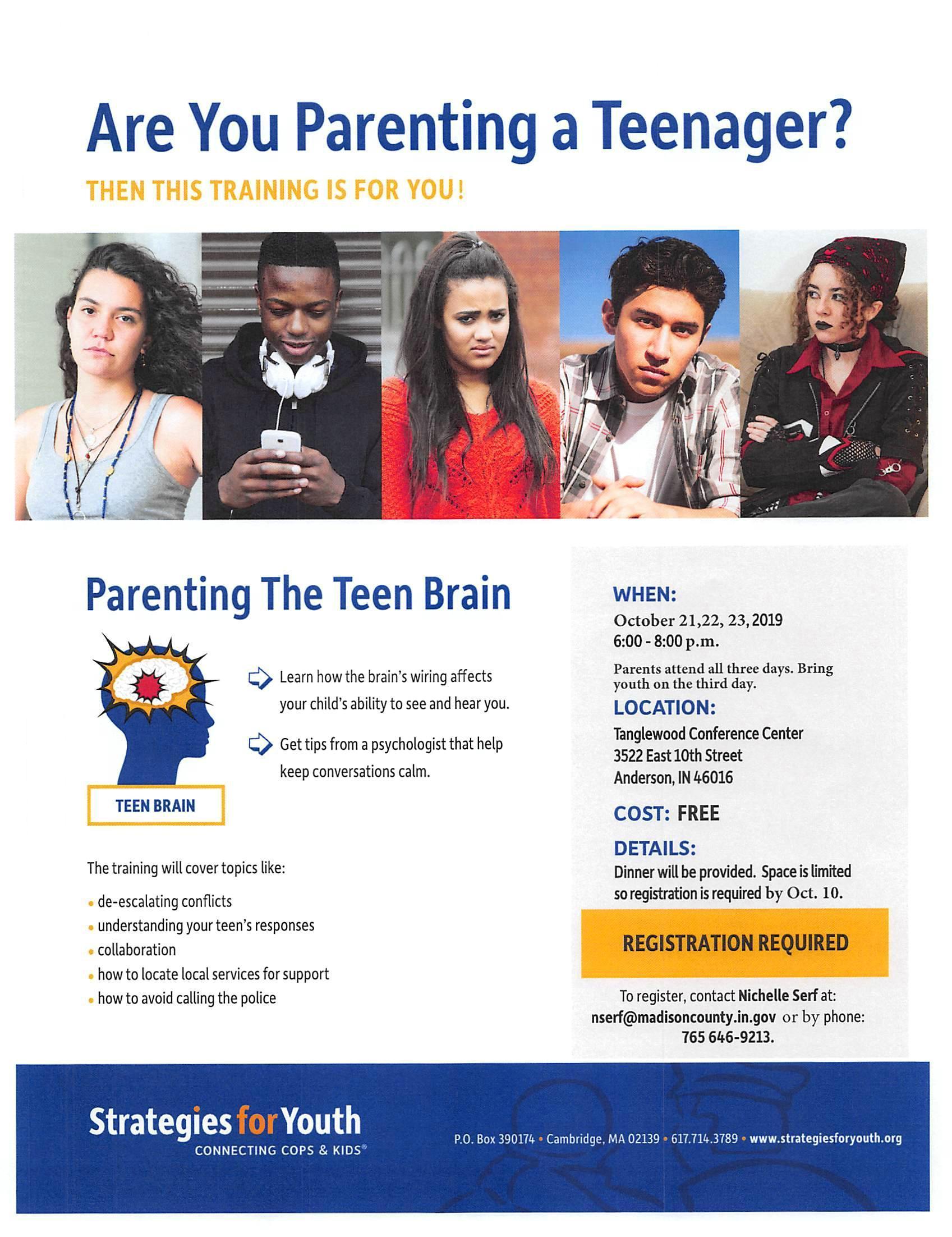 flyer for Parent the Teen Brain workshop, 10/21-23/2019