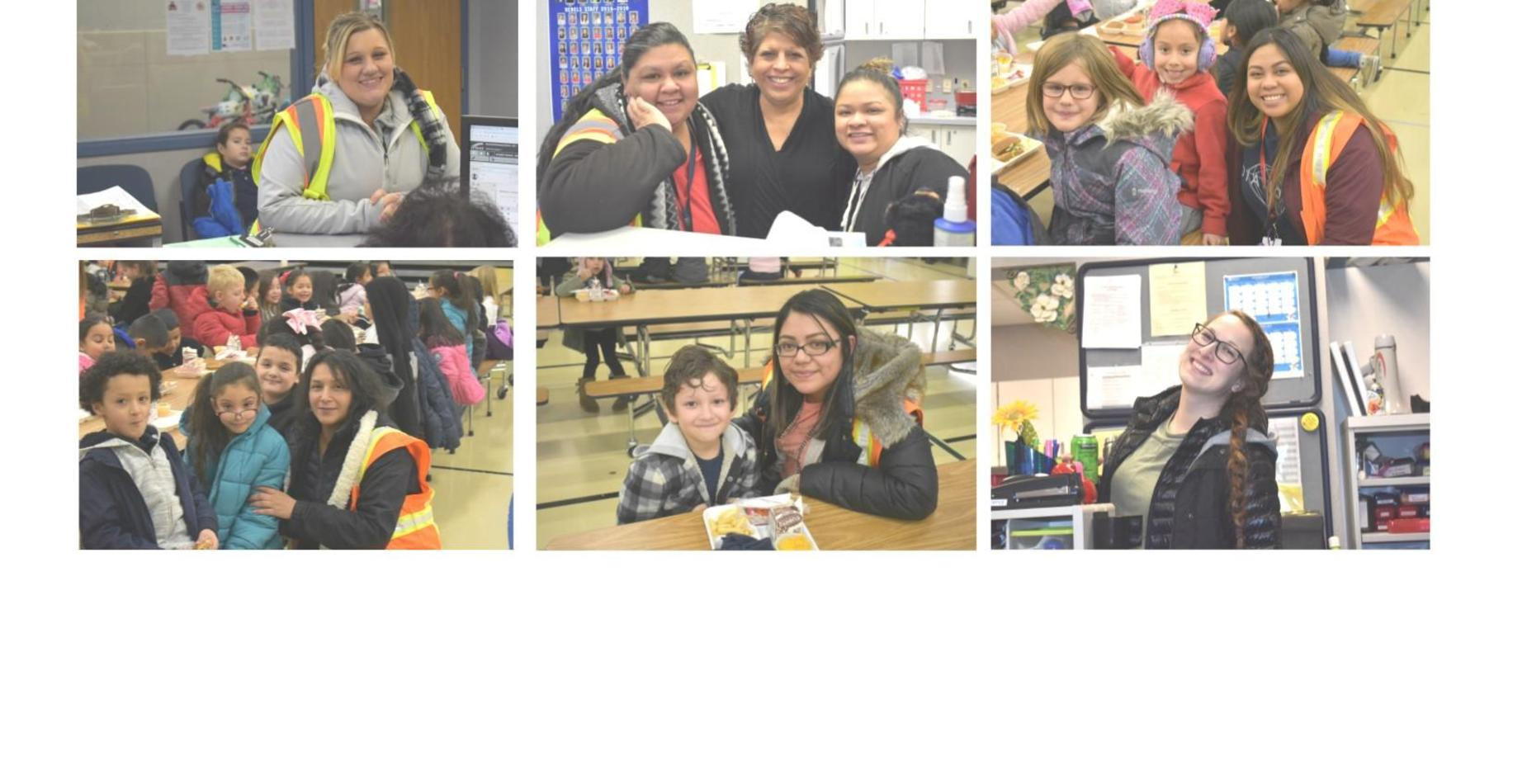 6 pictures of teachers smiling with students.