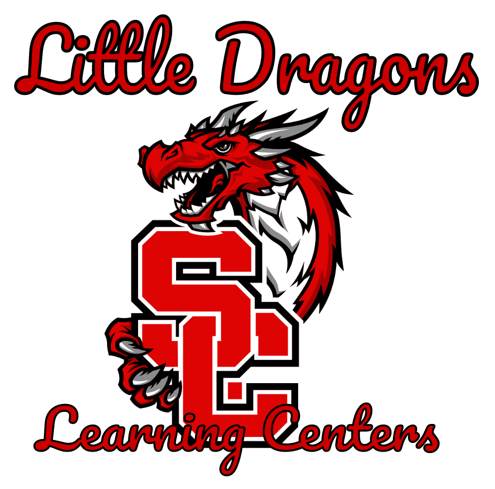 Swartz Creek Schools logo with Little Dragons Learning Centers title upon logo