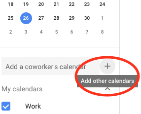 """Select """"Add other calendars"""" within Google Calendar"""