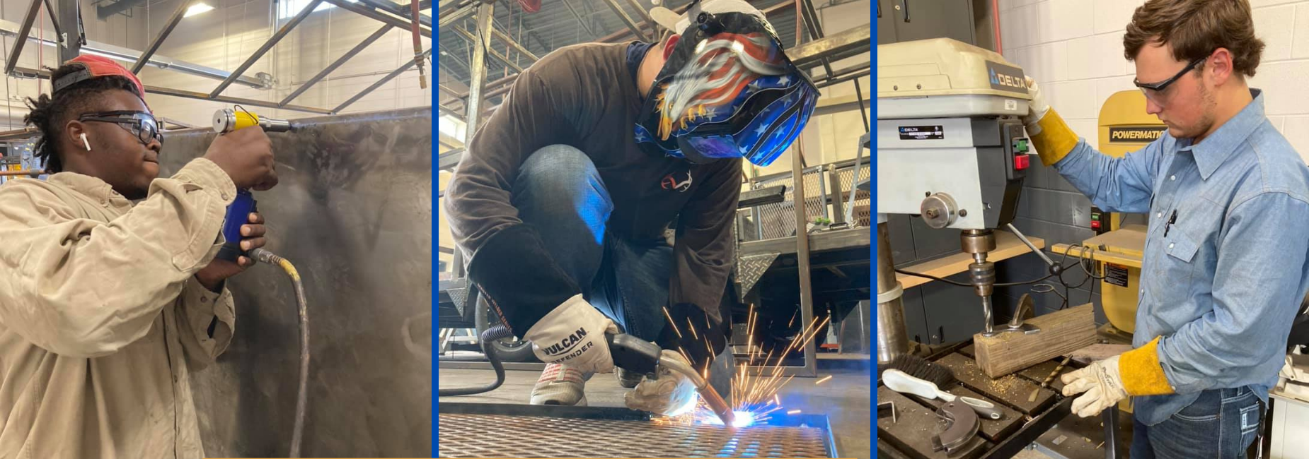 3 pictures of cte students, welding, drilling & sanding metal projects