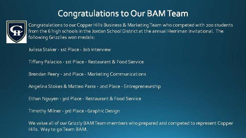 Congratulations to Our BAM Team