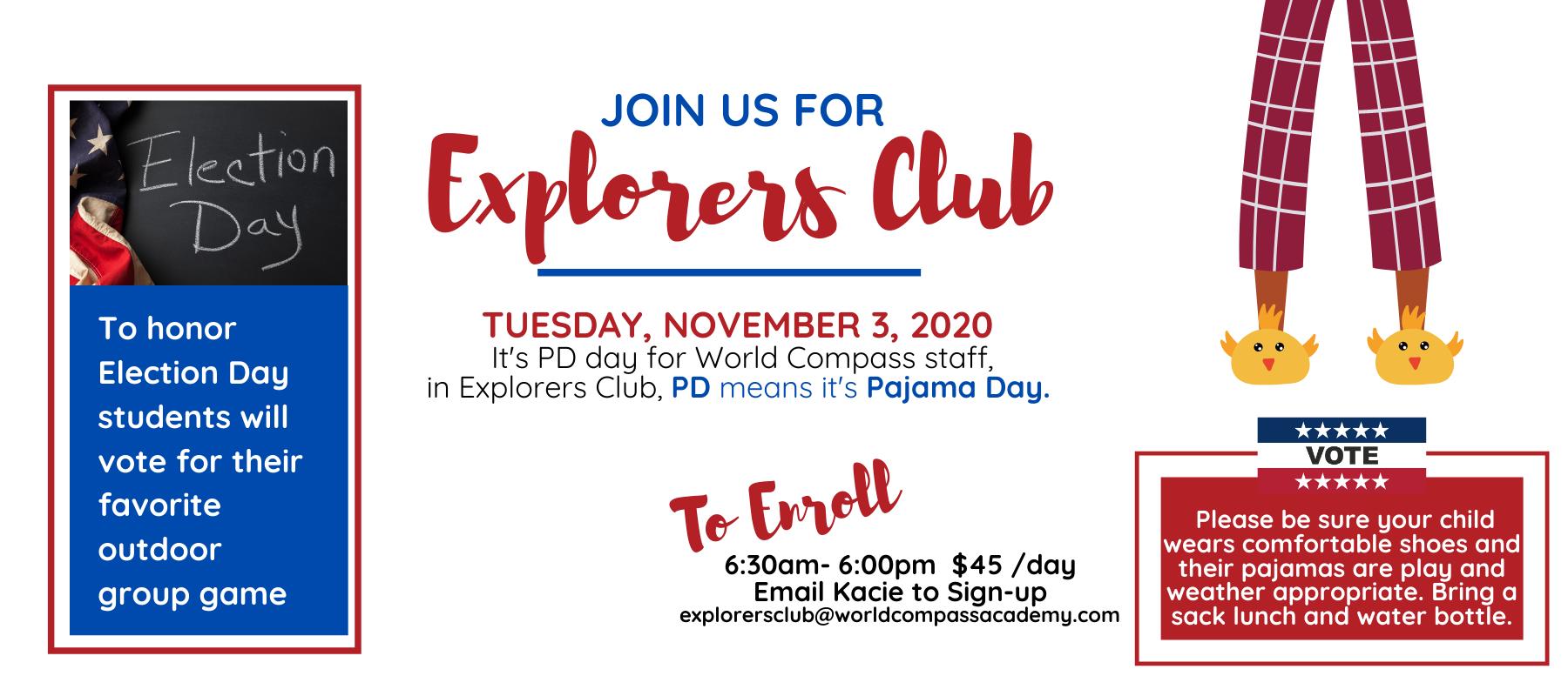 Explorers Club Nov 3rd