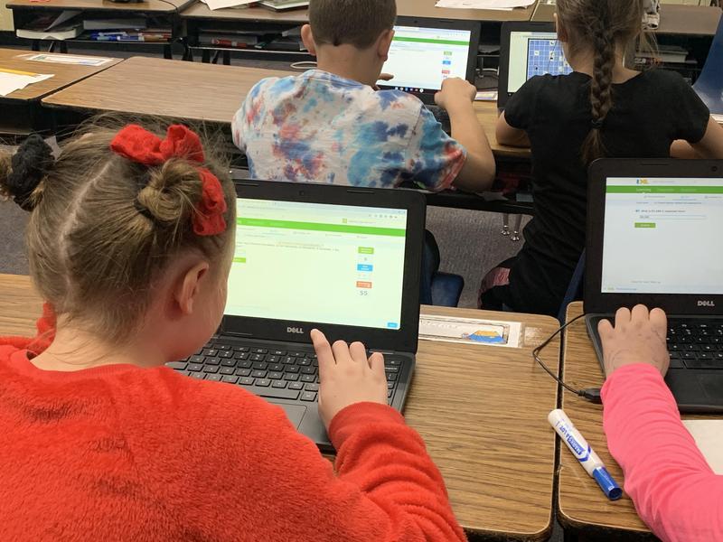 Student using Chromebook