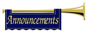 Trumpet wiht announcement sign