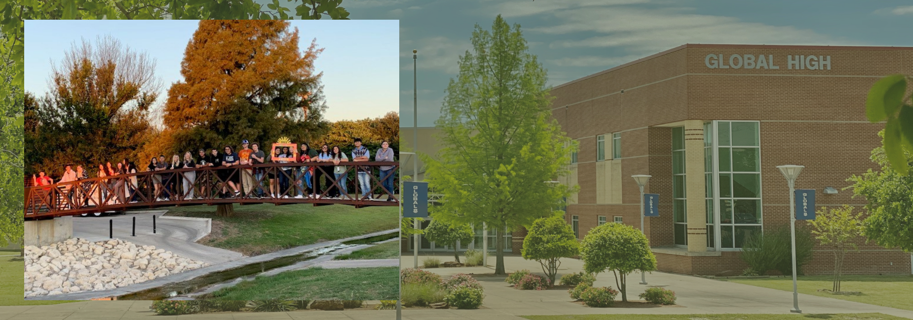 picture of student on a bridge over image of campus entrance