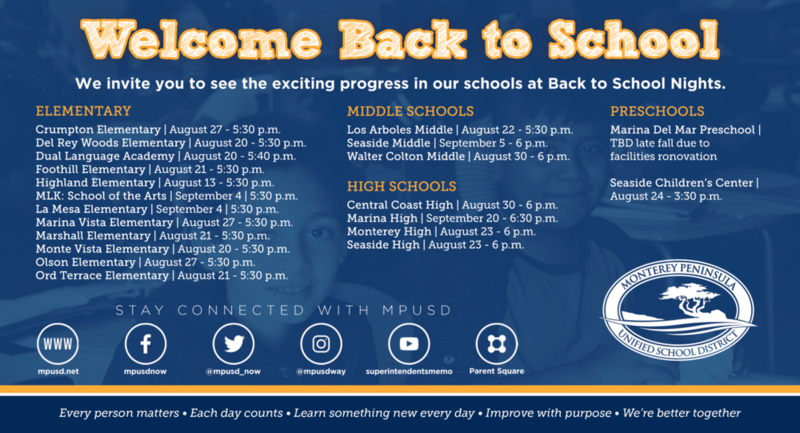 Image of dates featuring all of the district's Back-to-School Nights. You can also view the dates/times/locations in the Calendar section of this website.