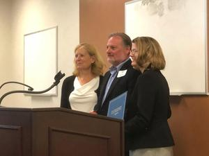 Cañon City School Board President Larry Oddo was presented with a 2019 McGuffy Award for outstanding service