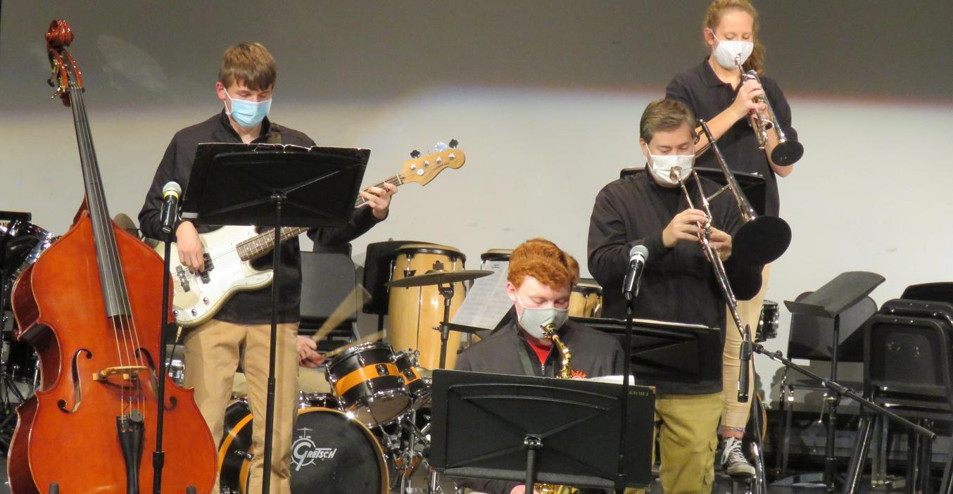TKHS jazz band students perform in concert.