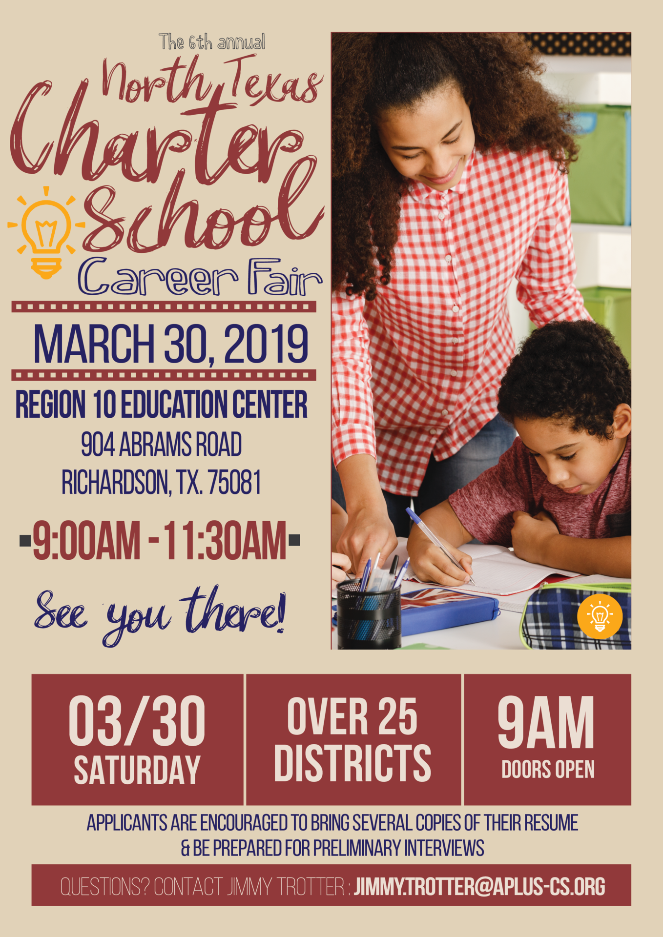 North Texas Charter School Career Fair happening on March 30, 2019; this is the official flyer, which states all the information listed above