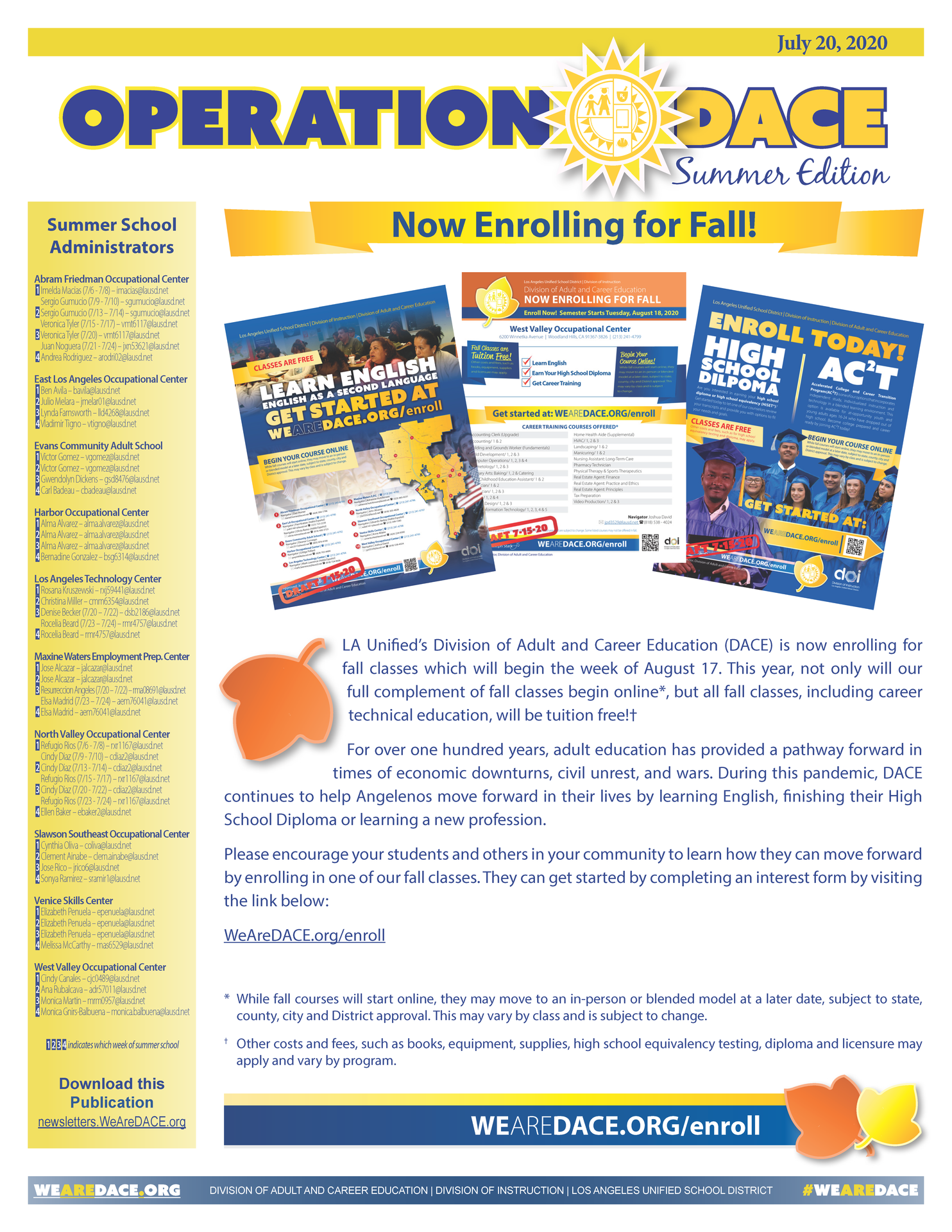 DACE Summer Newsletter - July 20, 2020 Thumbnail
