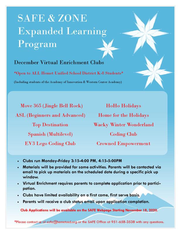 December Enrichment Clubs