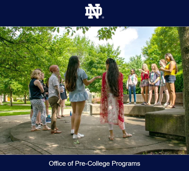 Students walking at Notre Dame