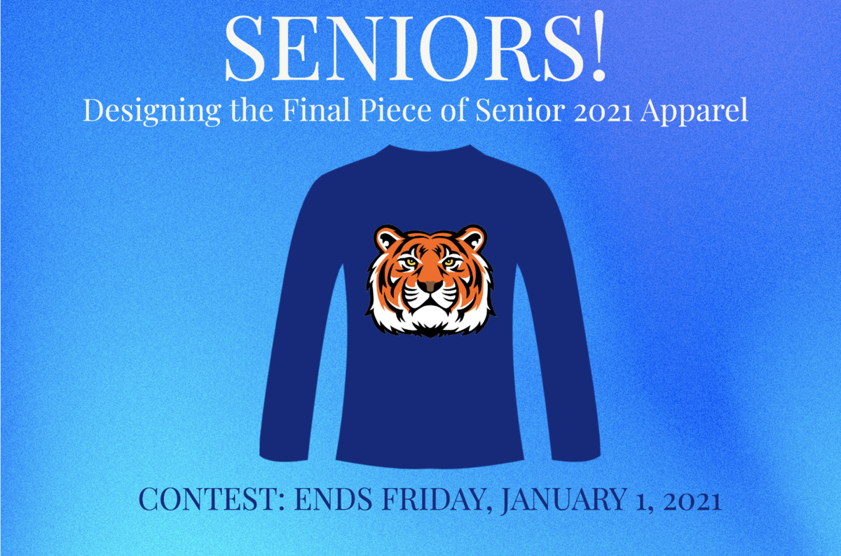 long sleeved blue shirt with a tiger in the middles