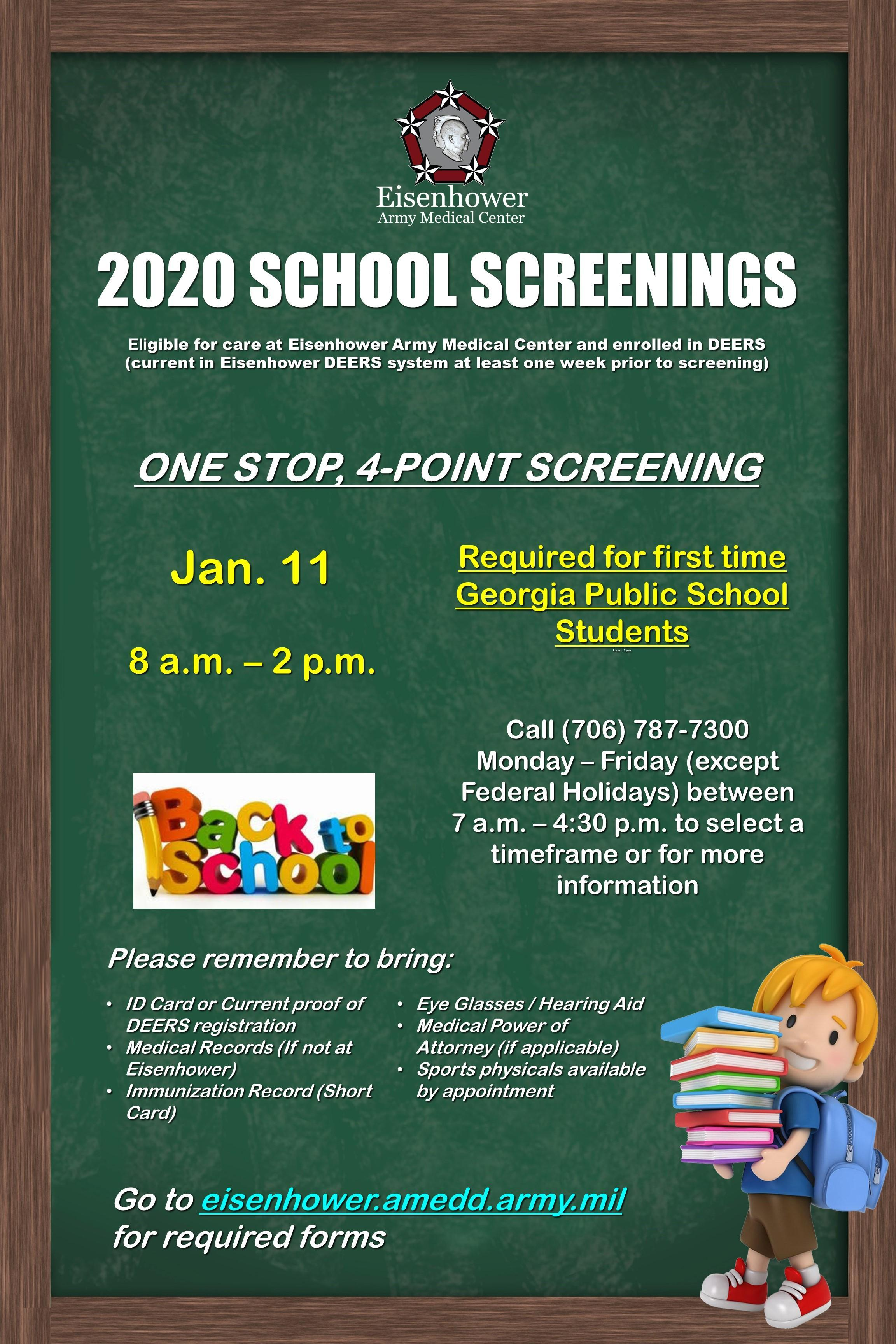 info flyer for school screenings for military families